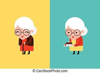 grootmoeder, vector, illustratie