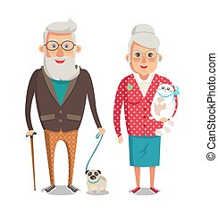 grootmoeder, vector, illustratie, grootvader