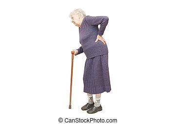 grootmoeder, witte , stok, vasthouden, achtergrond