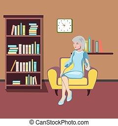 grootmoeder, zit, in, een, armchair.