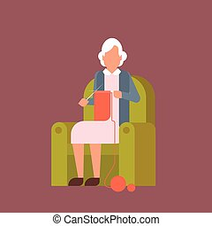 grootmoeder, zittende , in, leunstoel, kniting