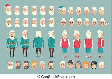grootouder, bouwsector, vector, set, illustratie