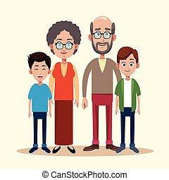 grootouders, beeld, kleinkind