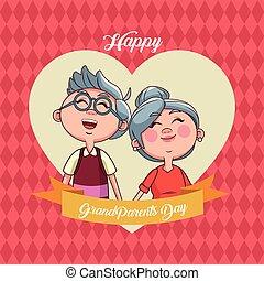 grootouders, dag, kaart, vrolijke