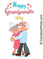 grootouders, dag, vrolijke