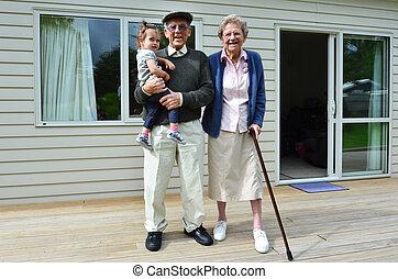 grootouders, en, kleinkind, verhouding