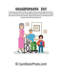 grootouders, groet, grootvader, grootmoeder, kleinkind, spandoek, dag, kaart, vrolijke