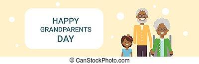 grootouders, groet, samen, grootvader, grootmoeder, amerikaan, kleinkind, afrikaan, spandoek, dag, kaart, vrolijke