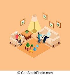 grootouders, isometric, spandoek, kinderen, thuis