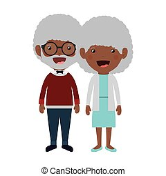 grootouders, ontwerp, spotprent