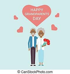 grootouders, paar, groet, samen, grootvader, grootmoeder, amerikaan, afrikaan, vakantie, spandoek, dag, kaart, vrolijke