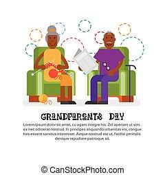 grootouders, paar, groet, samen, grootvader, grootmoeder, spandoek, dag, kaart, vrolijke