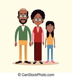 grootouders, paar, kleinkind, gezin
