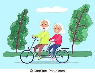 grootouders, rijden, datum, fiets, paar, bejaarden