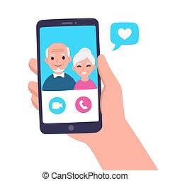 grootouders, roepen, video