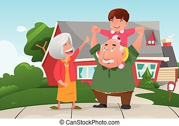 grootouders, spelend, kleinzoon, hun