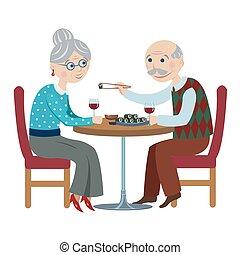 grootouders, spotprent, vrolijke
