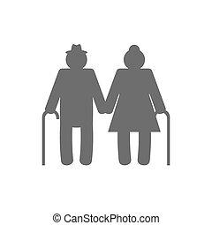 grootouders, vrijstaand, achtergrond., vector, witte , pictogram