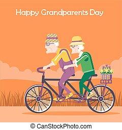 grootouders, vrolijke , dag, kaart