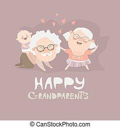 grootouders, vrolijke , spelend, kleinzoon, hun