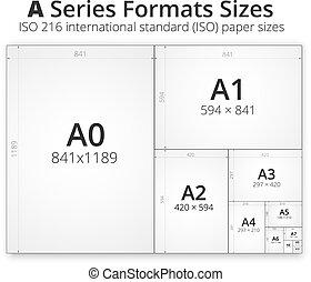grootte, van, formaat, een papier, bladen