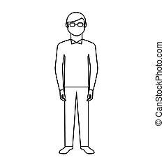 grootvader, karakter, vrijstaand, pictogram