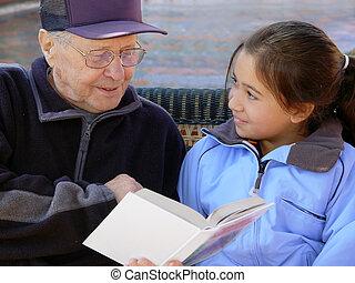 grootvader, lezende