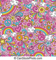 groovy, arco íris, doodles, padrão