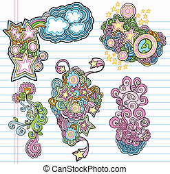 Groovy Doodle Design Elements set