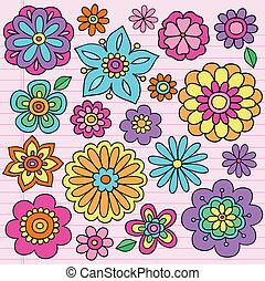 groovy, doodles, bloem macht, vector