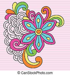 groovy, doodles, bloem, ontwerp, vector
