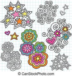 groovy, doodles, caderno, piscodelica
