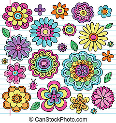groovy, doodles, poder flor, vectors