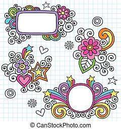Groovy Psychedelic Picture Frame Border Doodles Hand Drawn Notebook Doodle Design Elements on Lined Sketchbook Paper Background- Vector Illustration