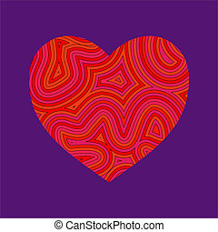 Groovy Heart - Heart shape with a groovy psychedelic...