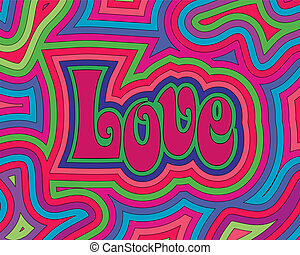 Groovy psychedelic offset swirls around the word 'Love'.