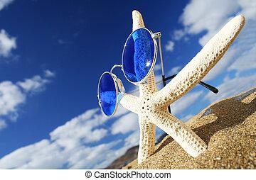 Groovy Starfish - Starfish with sunglasses on the beach