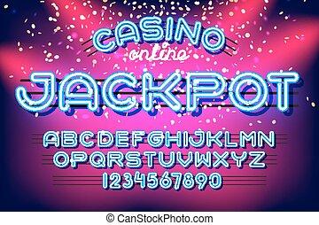 gros lot, police, néon, casino