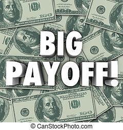 gros lot, récompenses, argent, résultat, résultat, grand, règlement, profit