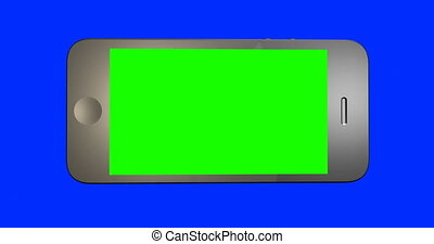 gros plan, écran, vert, doigt, déclics, smartphone.
