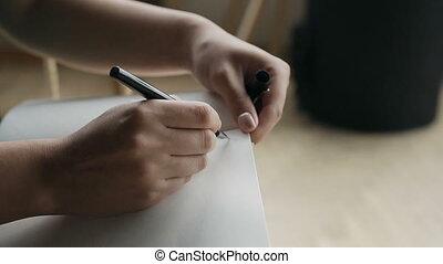 gros plan, écriture femme, cahier, pen., main, vide