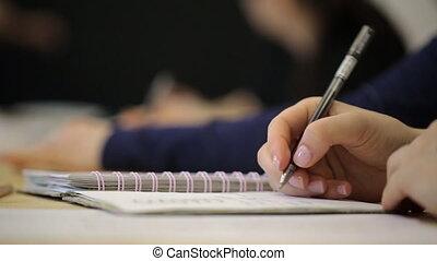 gros plan, écriture femme, important, information., vue