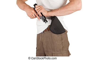 gros plan, étui pistolet, homme