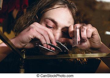 gros plan, affecté, abus drogue, adolescent, portrait