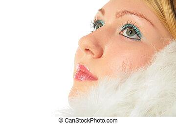 gros plan, angel\'s, déguisement, portrait, blond, girl