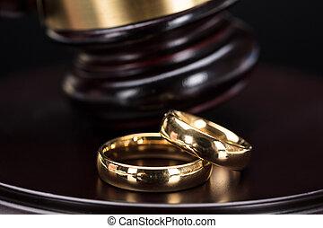 gros plan, anneaux, mariage