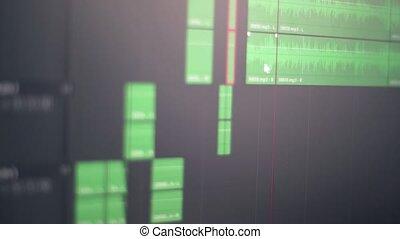 gros plan, application, contrôle, professionnel, son, travail, screen., audio, éditer, édition, enregistrement, musique, informatique, studio, correction