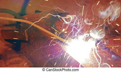 gros plan, arc, -, hd, welding.
