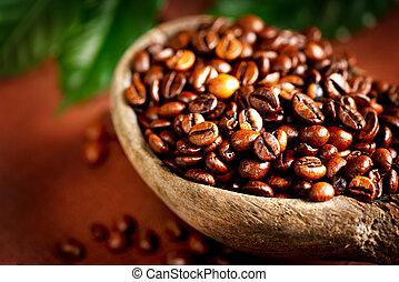 gros plan, aromatique, beans., café, bol
