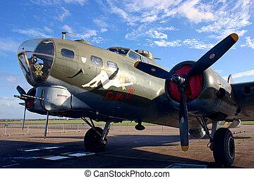 gros plan, b, musée, impérial, bombardier, américain, duxford, sally, guerre